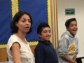 091516_BASSETT_ACTING1: Actress Veronica Falcón teaches acting techniques and gives advice to Torch Middle Schools students on Sept. 8 as part of the school's film pathway program.