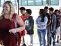 102016_NLMUSD_SHAKEOUT1: A Corvallis Middle School teacher leads her classroom to the school's blacktop area as part of a statewide earthquake drill, the Great ShakeOut, on Oct. 20.