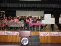 EWCSDCommServ2: Students from Granada Middle School's Think Pink Club present a $500 check to a District teacher battling cancer.