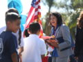 FUSDDEDICATION1: Labor leader Dolores Huerta greets students at the Dolores Huerta International Academy during a dedication ceremony in her honor on Oct. 11. The academy, which offers English-Spanish dual-language and pre-International Baccalaureate (IB) magnet programs, opened in August 2016.